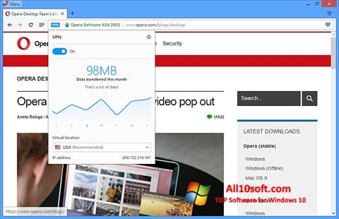 Screenshot Opera Windows 10