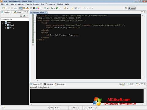 Screenshot Aptana Studio Windows 10