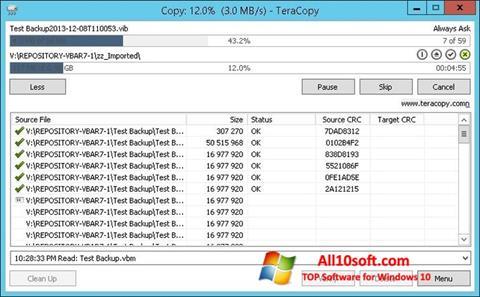 Screenshot TeraCopy Windows 10