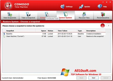 Screenshot Comodo Time Machine Windows 10
