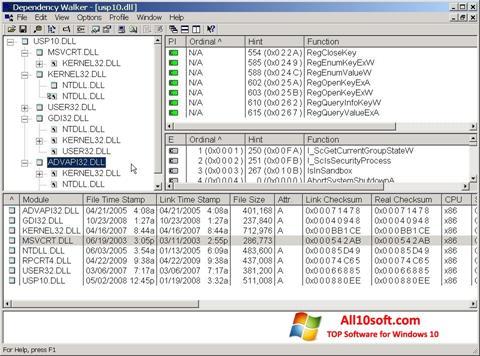 Screenshot Dependency Walker Windows 10